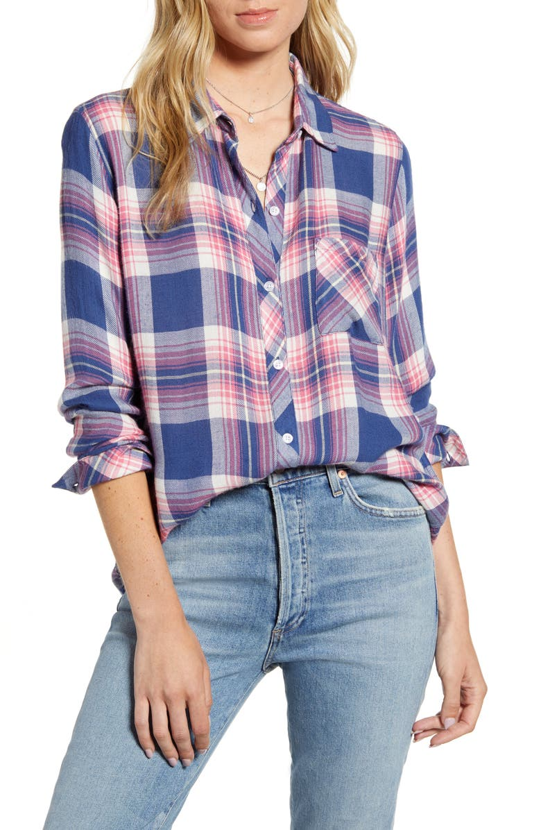 RAILS Hunter Plaid Shirt, Main, color, AZURE PINK YELLOW