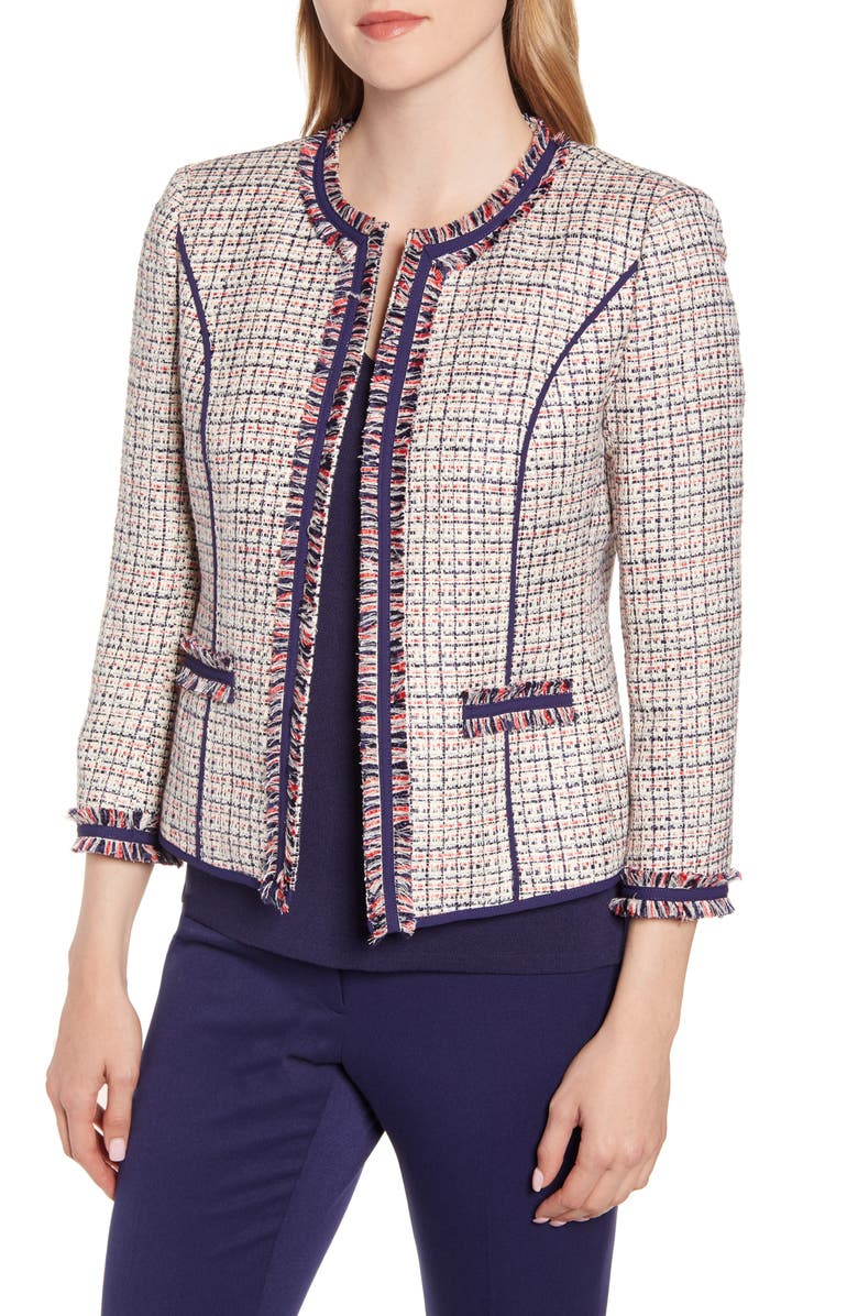 ANNE KLEIN Twill Fringe Jacket, Main, color, ANNE WHITE/ ECLIPSE