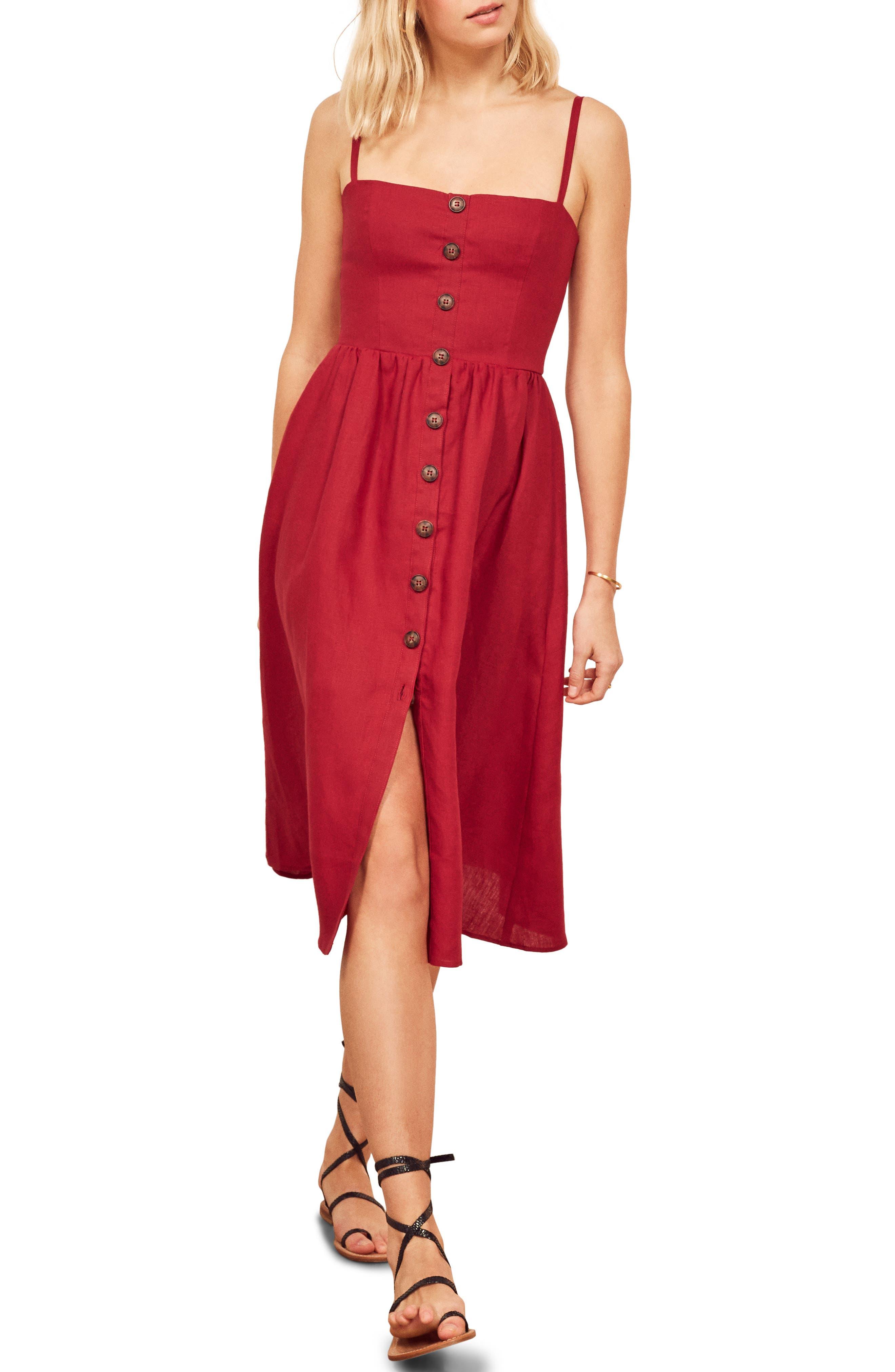 Reformation Tori Linen Sundress, Red