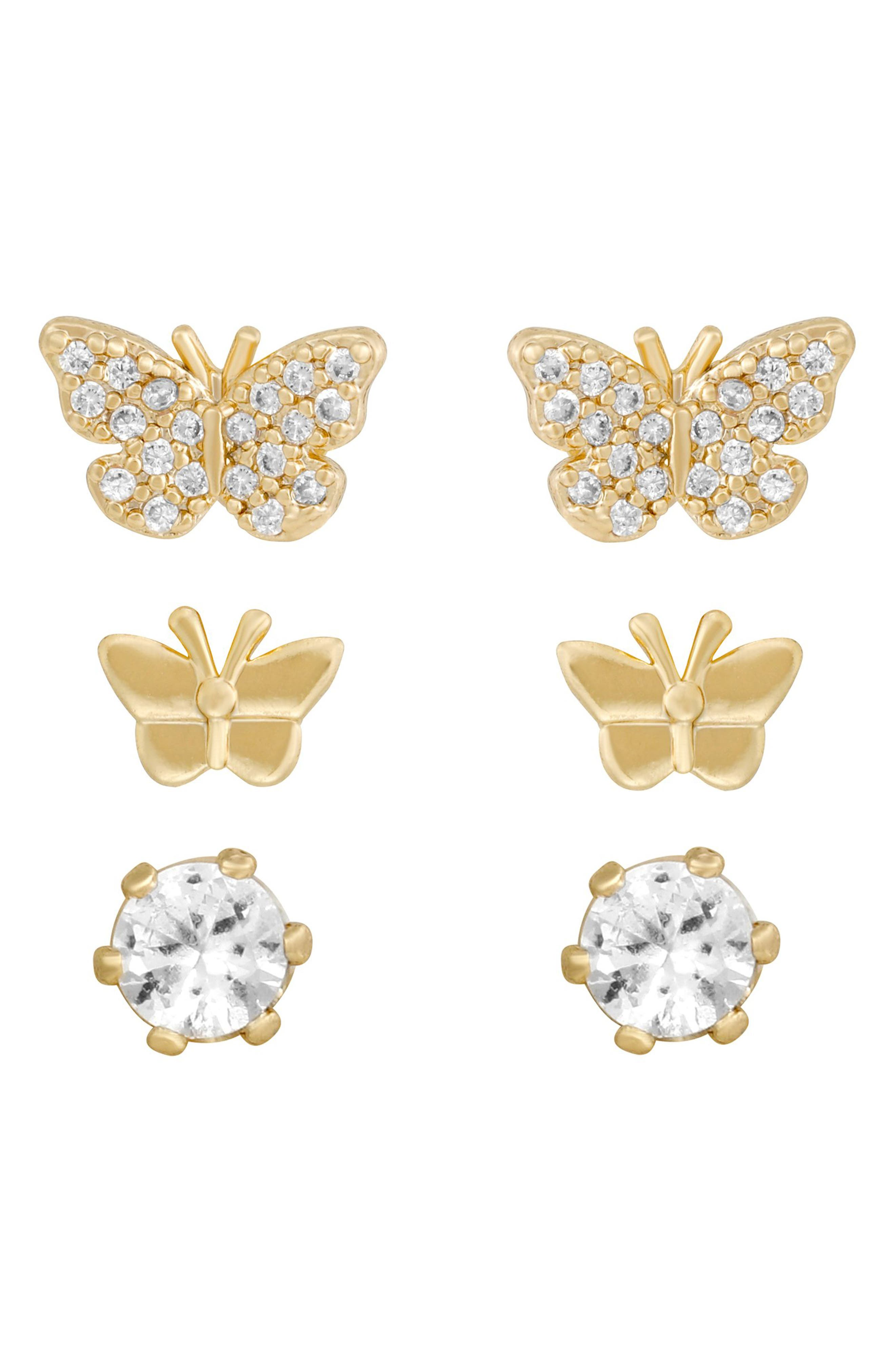 Butterfly Party Set Of 3 Pair Stud Earrings