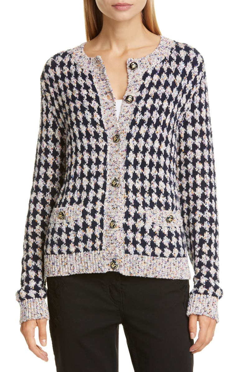 ETRO Metallic Houndstooth Tweed Jacquard Cardigan, Main, color, NAVY