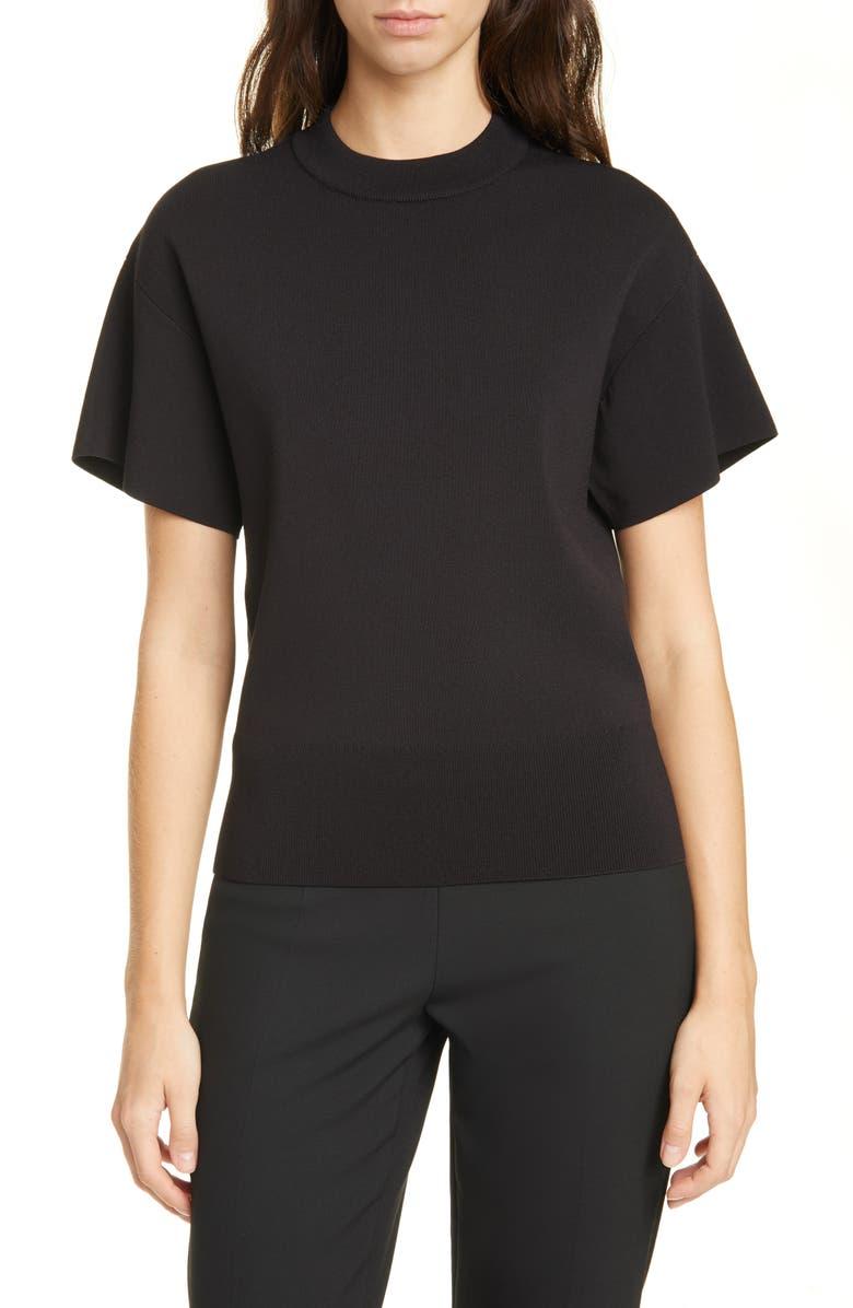 BOSS Felinara High Neck Short Sleeve Stretch Sweater, Main, color, BLACK