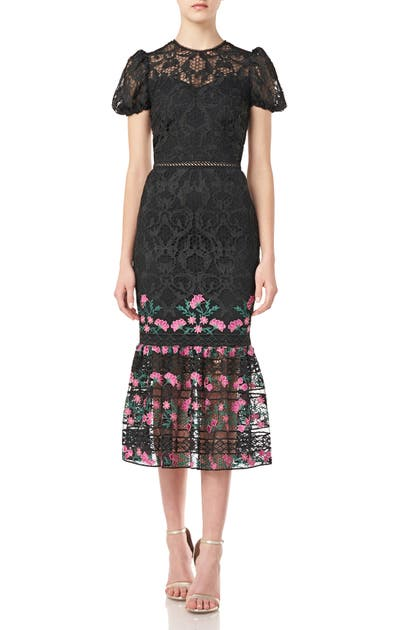 ml Monique Lhuillier Short Sleeve Floral Lace Midi Dress In Jet Multi