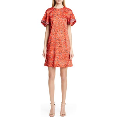 Lela Rose Handkerchief Sleeve Floral Print Minidress, Red