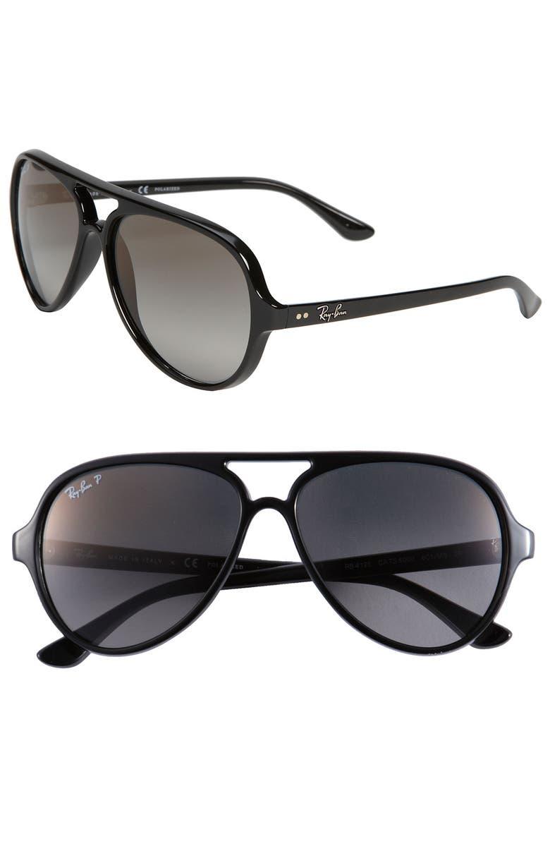 RAY-BAN Polarized Aviator Sunglasses, Main, color, 005