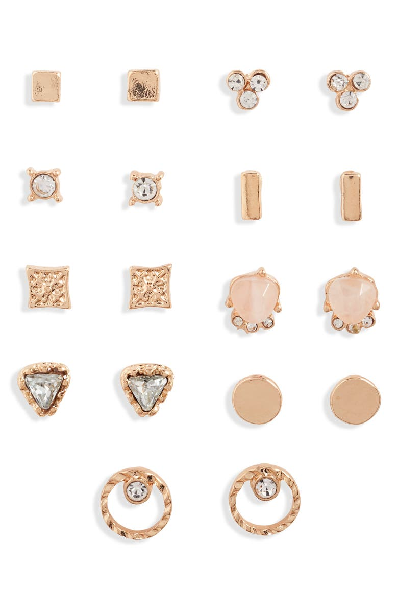 BP. Set of 9 Stud Earrings, Main, color, CLEAR- GOLD