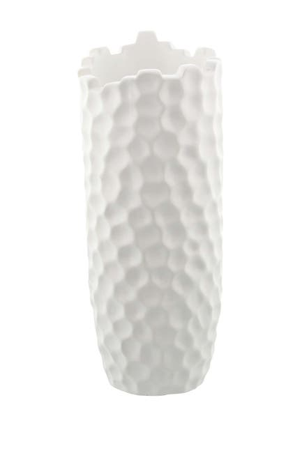 Image of CosmoLiving by Cosmopolitan Eclectic Dimpled Honeycomb Designed White Ceramic Vase