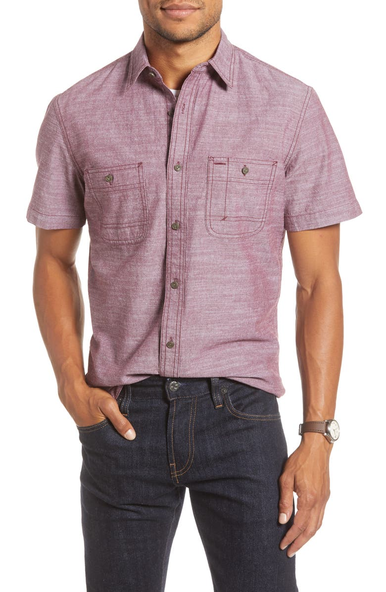 1901 Trim Fit Solid Short Sleeve Button-Up Shirt, Main, color, BURGUNDY ROYAL CHAMBRAY