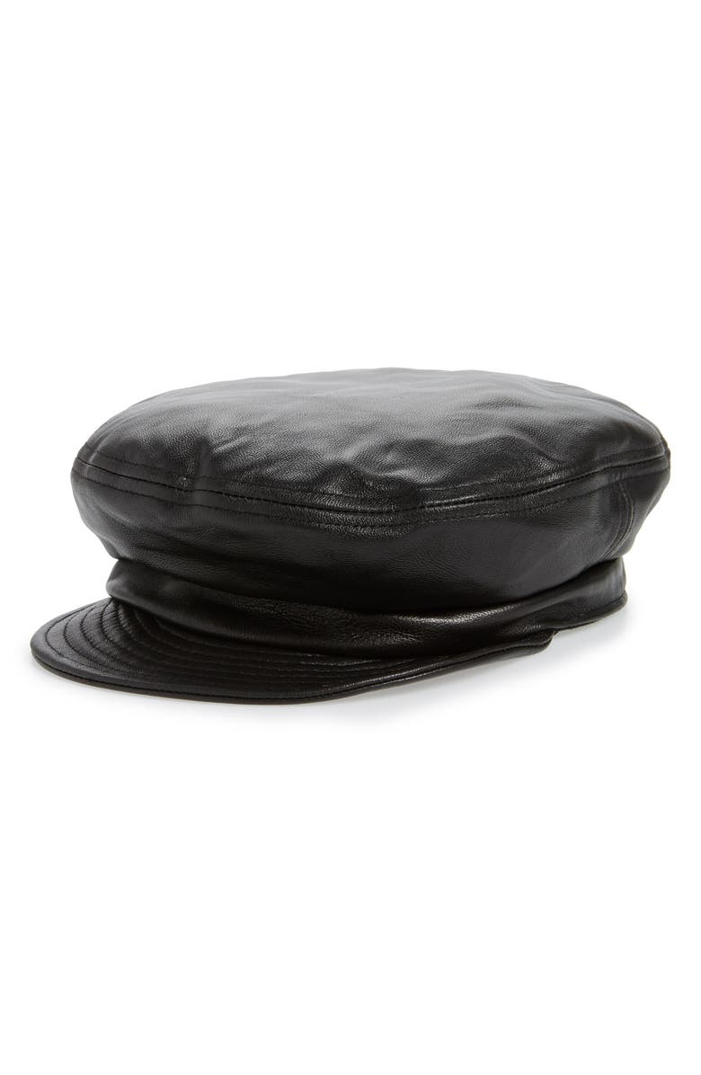 BRIXTON Leather Fiddler Cap, Main, color, 001