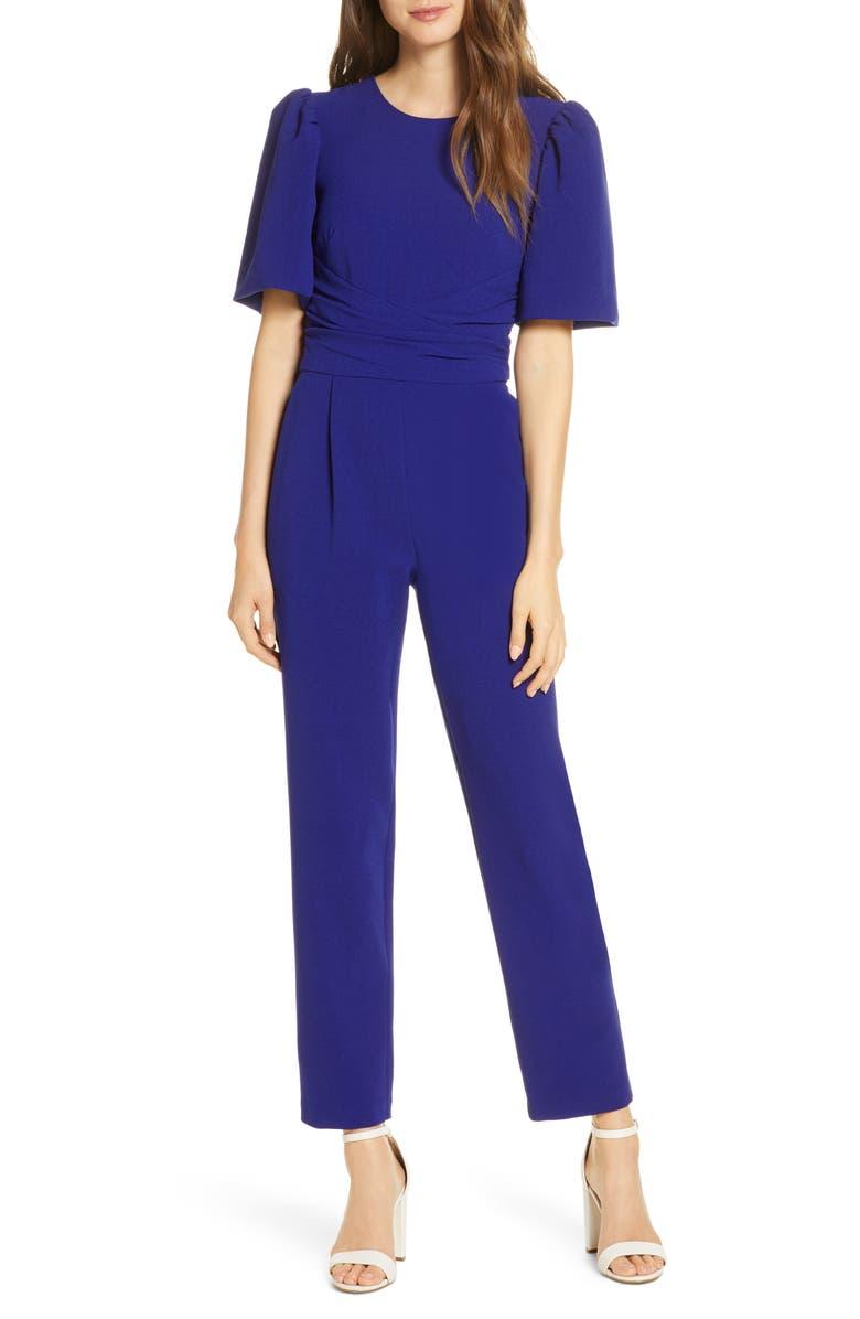 ELIZA J Waist Tie Balloon Sleeve Crepe Jumpsuit, Main, color, COBALT