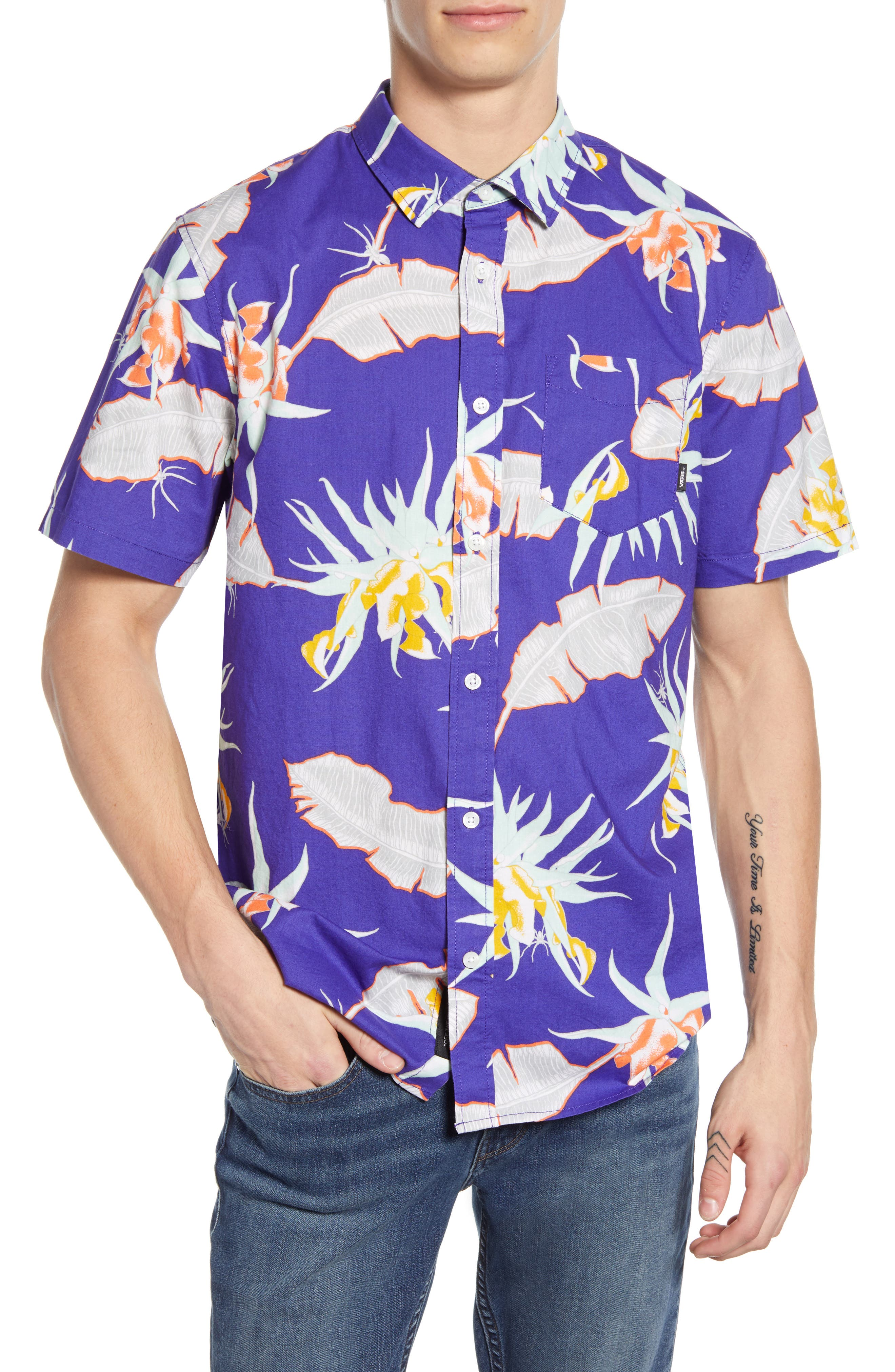 ,                             Arachnofloria Print Shirt,                             Main thumbnail 1, color,                             VANS PURPLE