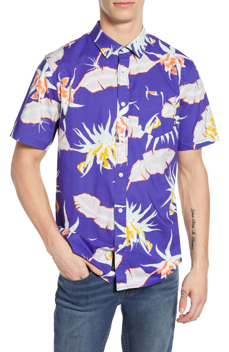 VANS Arachnofloria Print Slim Fit Shirt, Main, color, VANS PURPLE