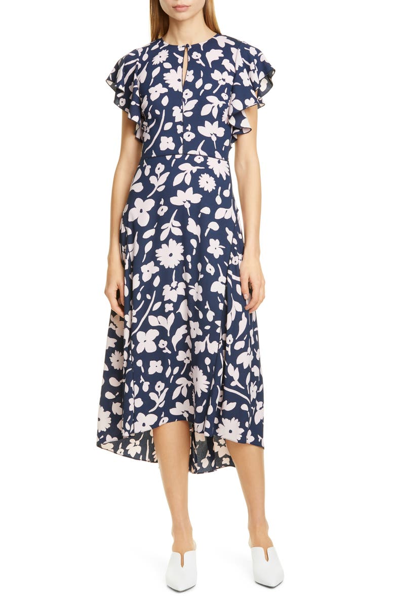 KATE SPADE NEW YORK splash midi dress, Main, color, PARISIAN NAVY