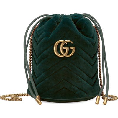 Gucci Mini Gg Marmont 2.0 Quilted Velvet Bucket Bag - Green