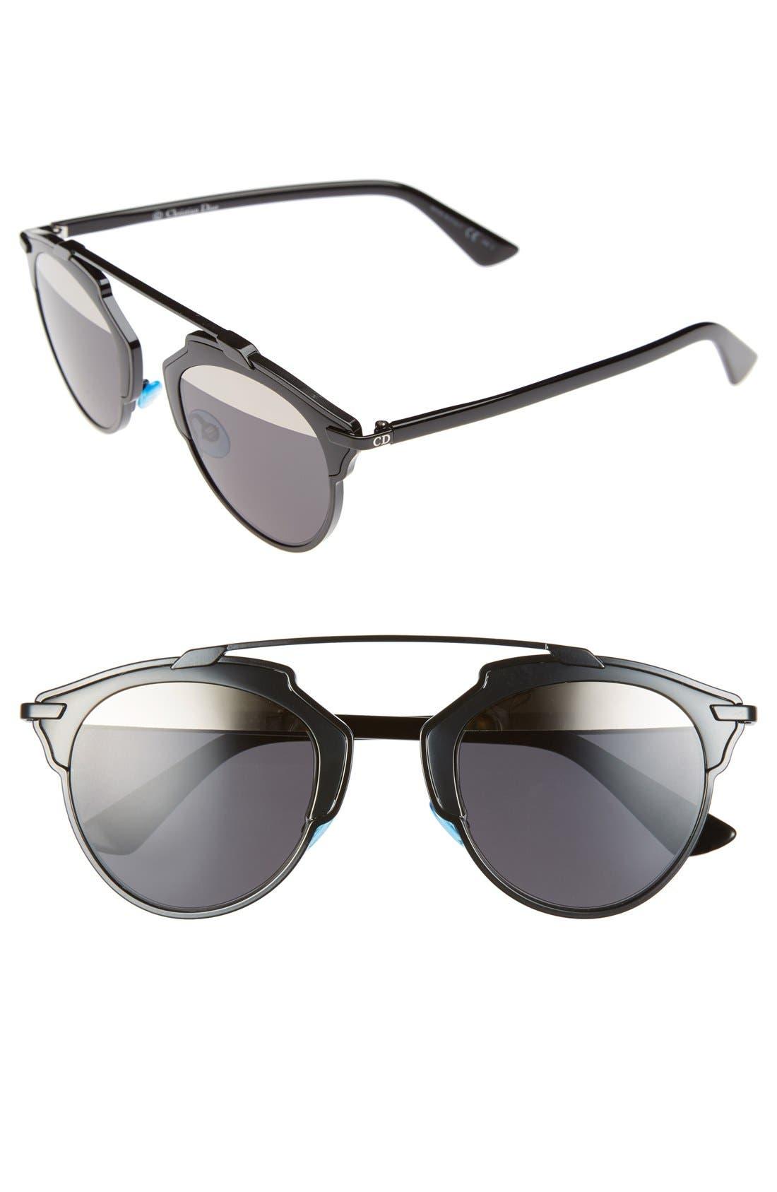 ,                             So Real 48mm Brow Bar Sunglasses,                             Main thumbnail 4, color,                             001