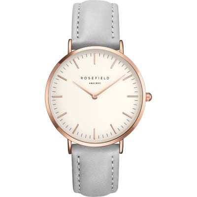 Rosefield Bowery Leather Strap Watch,