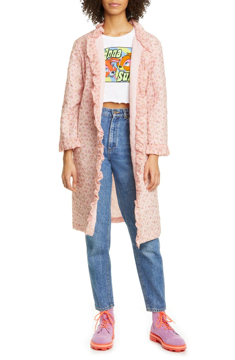ANNA SUI Butterfly Quilted Rosebuds Print Cotton Coat, Main, color, 650