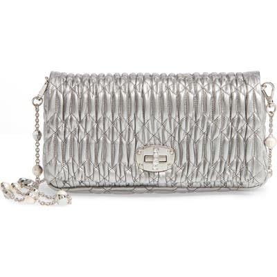 Miu Miu Small Matelasse Metallic Leather Shoulder Bag - Metallic