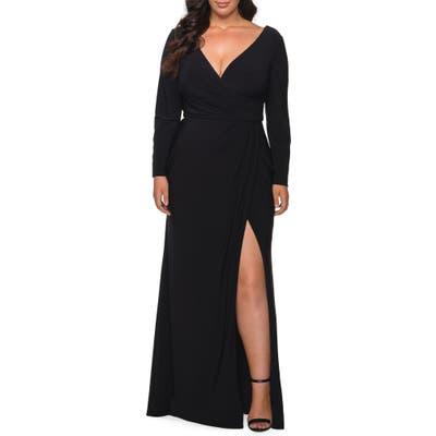 Plus Size La Femme Long Sleeve Faux Wrap Gown
