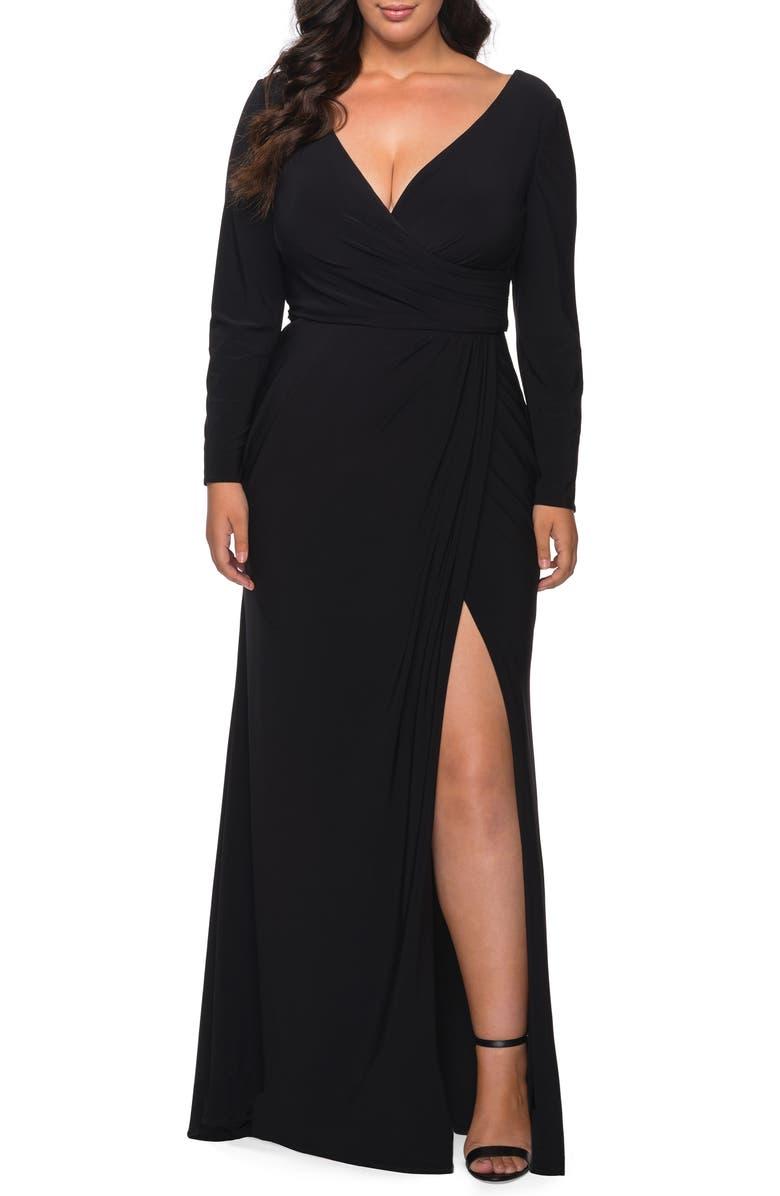 LA FEMME Long Sleeve Faux Wrap Gown, Main, color, BLACK