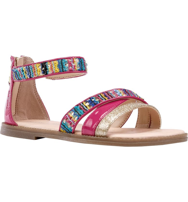 GEOX Karly Mixed Media Glitter Sandal, Main, color, FUCHSIA/ MULTICOLOR