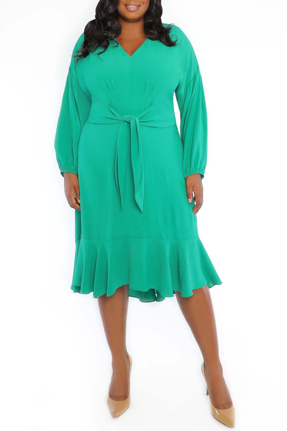 Image of London Times Catalina Crepe High Low Fit & Flare Dress