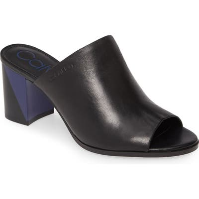 Calvin Klein Coral Colorblock Slide Sandal- Black