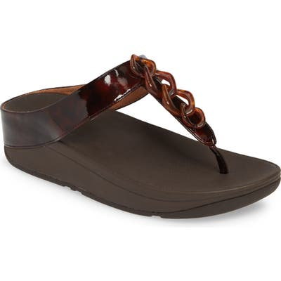 Fitflop Fino Chainlink Flip Flop, Brown