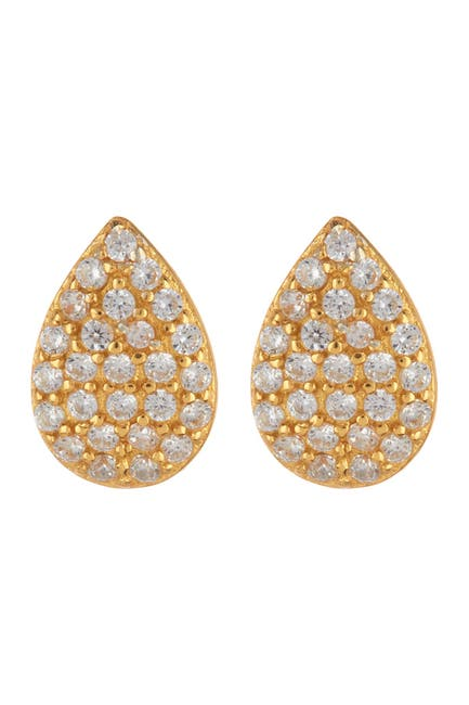 Image of Argento Vivo 18K Gold Plated Sterling Silver CZ Pave Teardrop Earrings