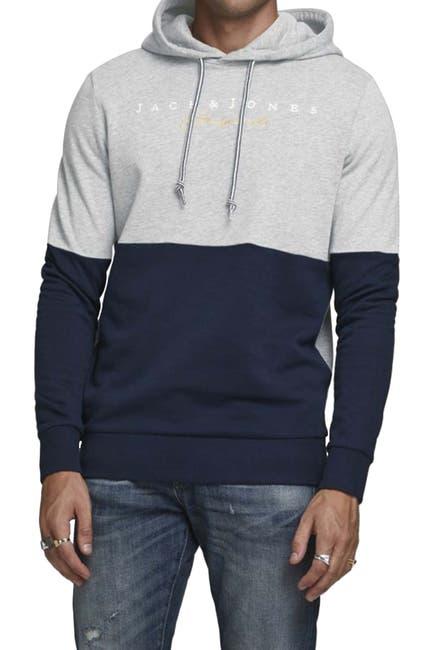 Image of JACK & JONES Trailer Colorblock Logo Hooded Sweatshirt