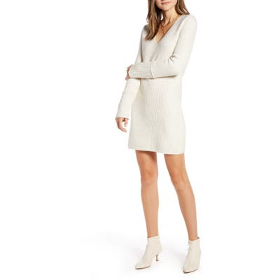 Something Navy Fitted Long Sleeve Tunic Sweater Dress, Beige (Nordstrom Exclusive)