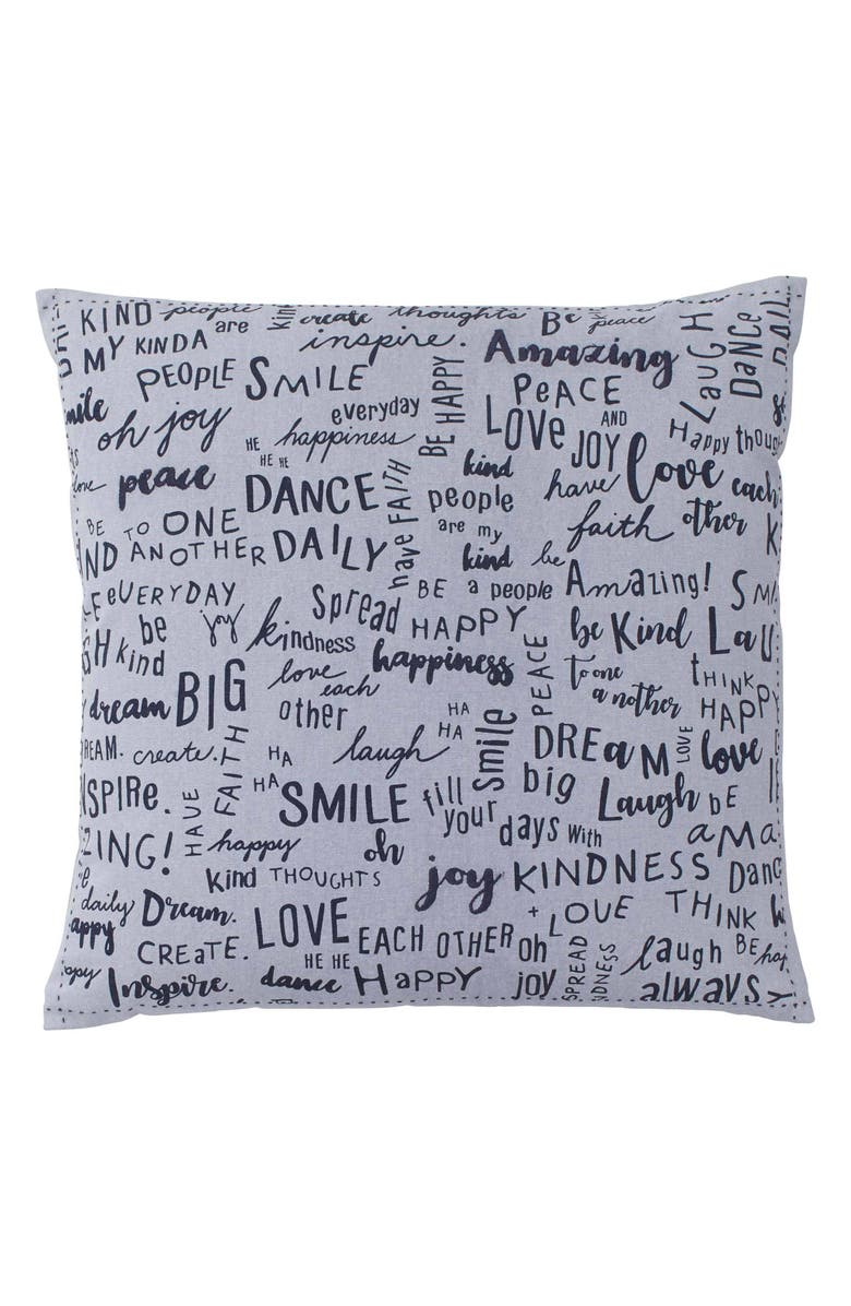 ED ELLEN DEGENERES Vicente Words Accent Pillow, Main, color, SILVER
