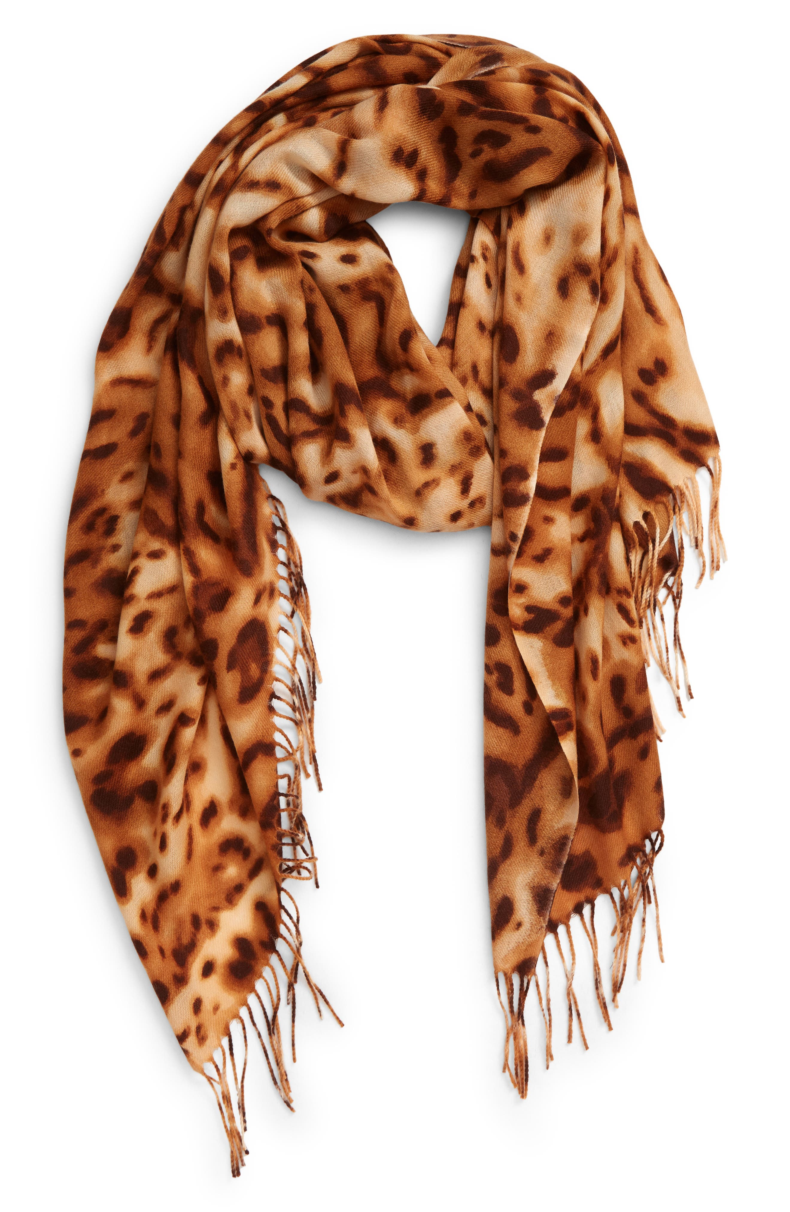 An artful print washes across a lusciously soft fringed scarf spun from a rich blend of wool and cashmere. Style Name: Nordstrom Tissue Print Wool & Cashmere Wrap Scarf. Style Number: 5457084. Available in stores.