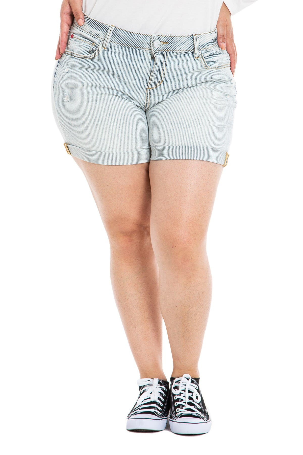 Image of SLINK JEANS Striped High-Rise Shorts