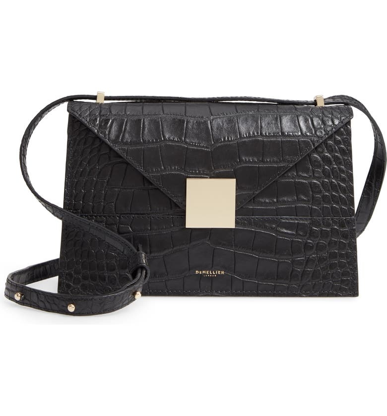 DEMELLIER Copenhagen Leather Crossbody Bag, Main, color, BLACK MOCK CROC