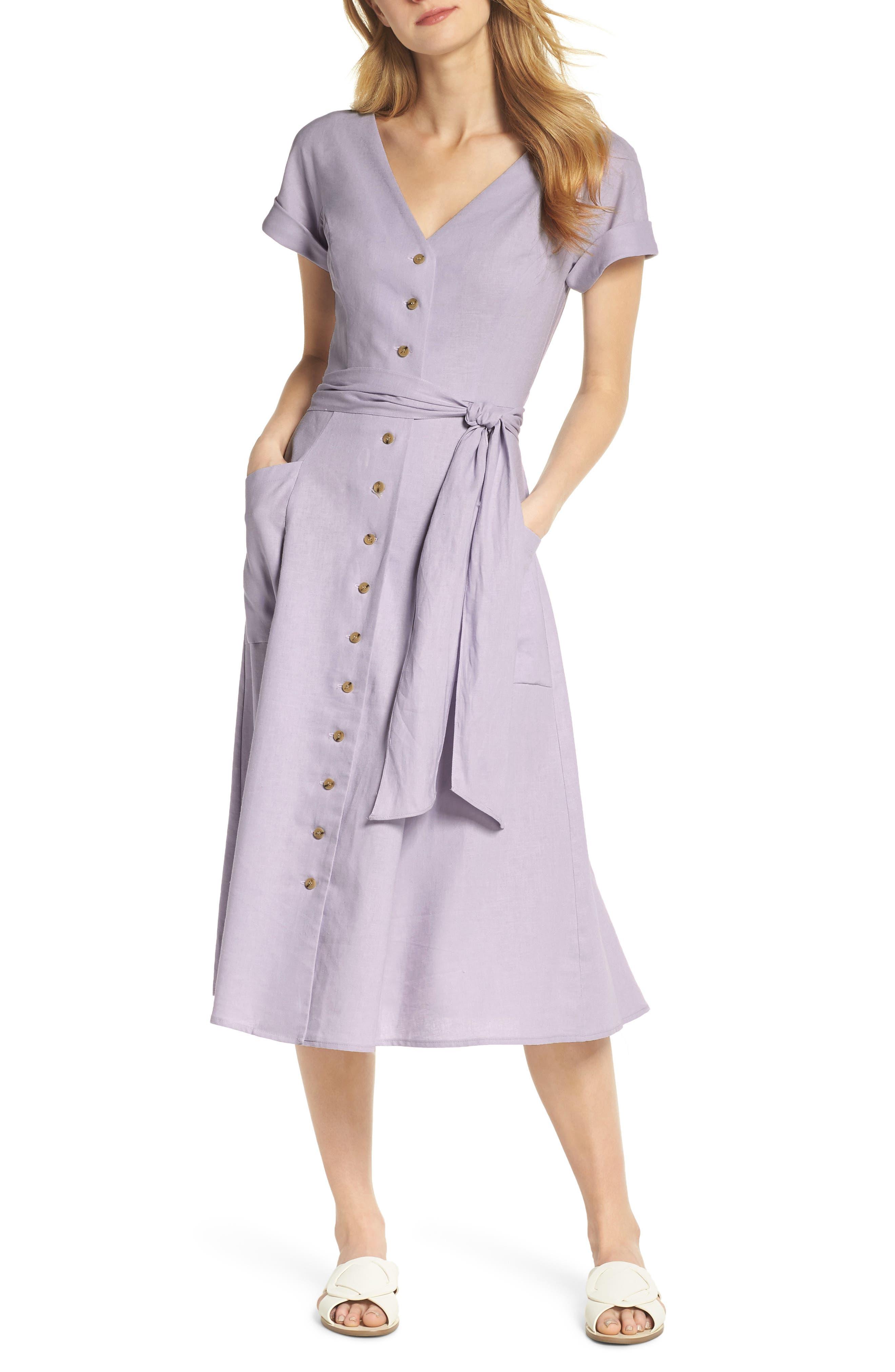 Gal Meets Glam Collection Vanessa Button Front Linen Blend Midi Dress, Purple