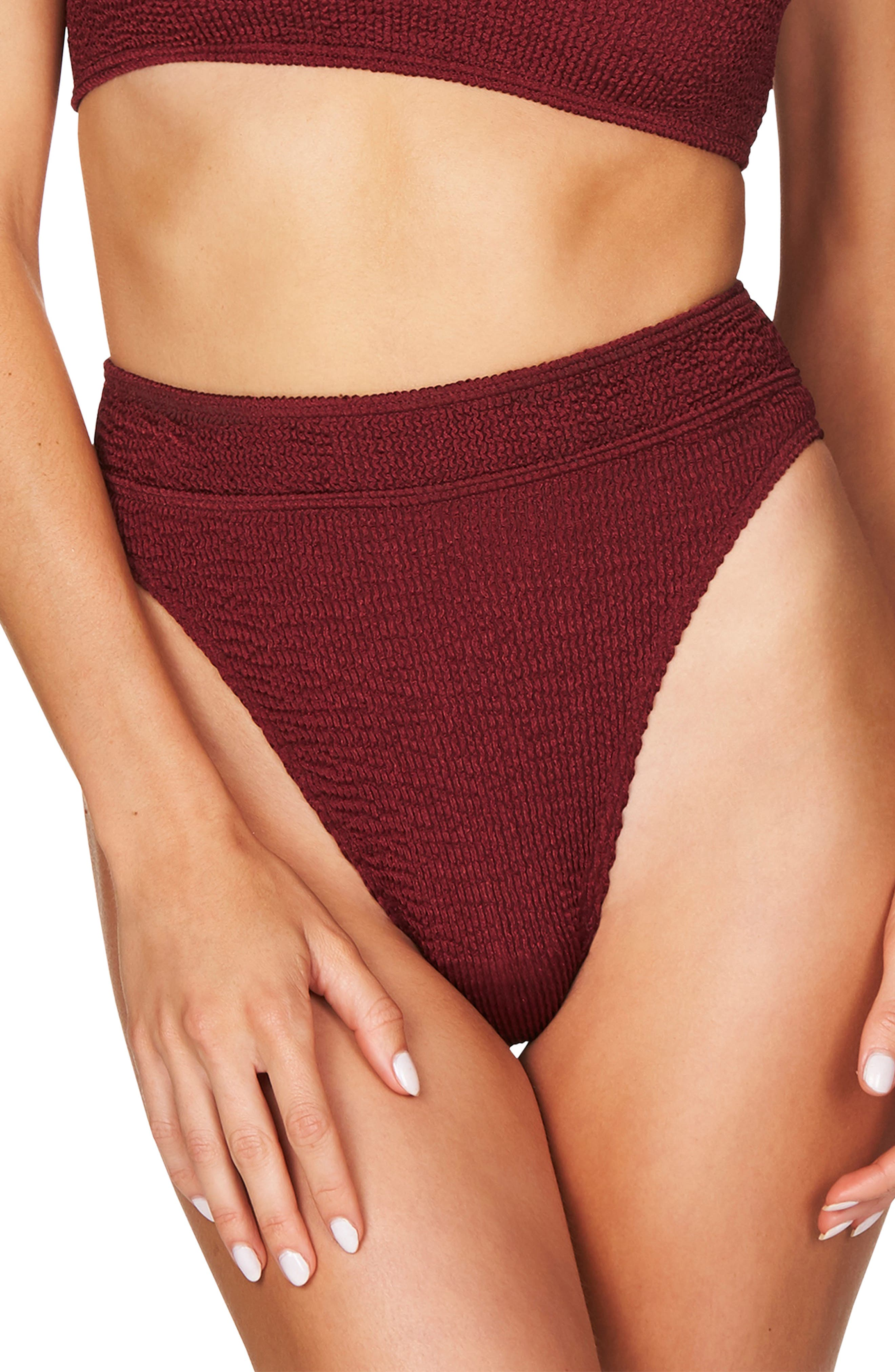 Bound By Bond-Eye The Savannah High Cut Ribbed Bikini Bottoms, Size One Size - Red