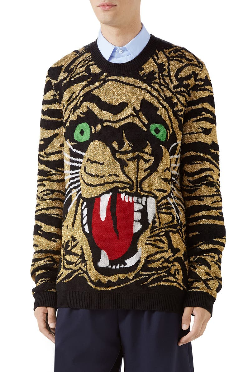 GUCCI Tiger Wool Blend Sweater, Main, color, BLACK GOLD