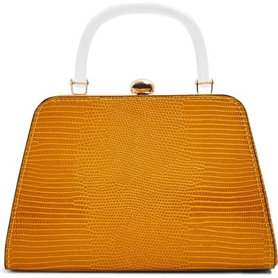 Topshop Greed Reptile Embossed Top Handle Bag - Yellow