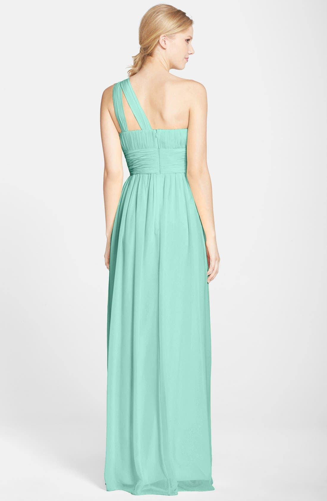 ,                             'Rachel' Ruched One-Shoulder Chiffon Gown,                             Alternate thumbnail 30, color,                             300
