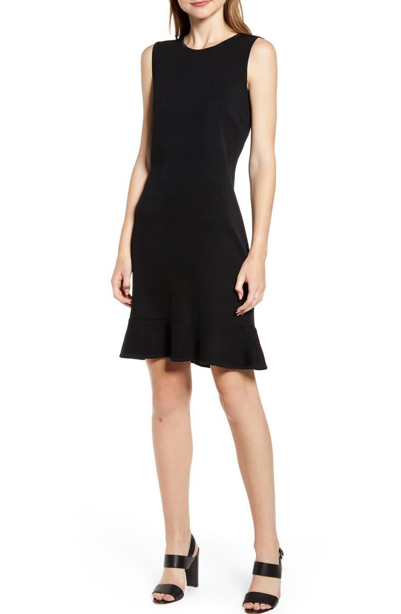 MING WANG Flounced Sweater Dress, Main, color, 001