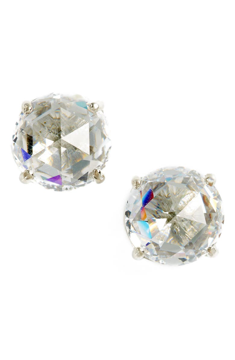 KATE SPADE NEW YORK bright idea stud earrings, Main, color, CLEAR/ SILVER