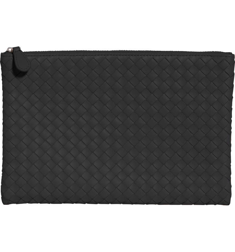 BOTTEGA VENETA Intrecciato Large Leather Pouch, Main, color, BLACK