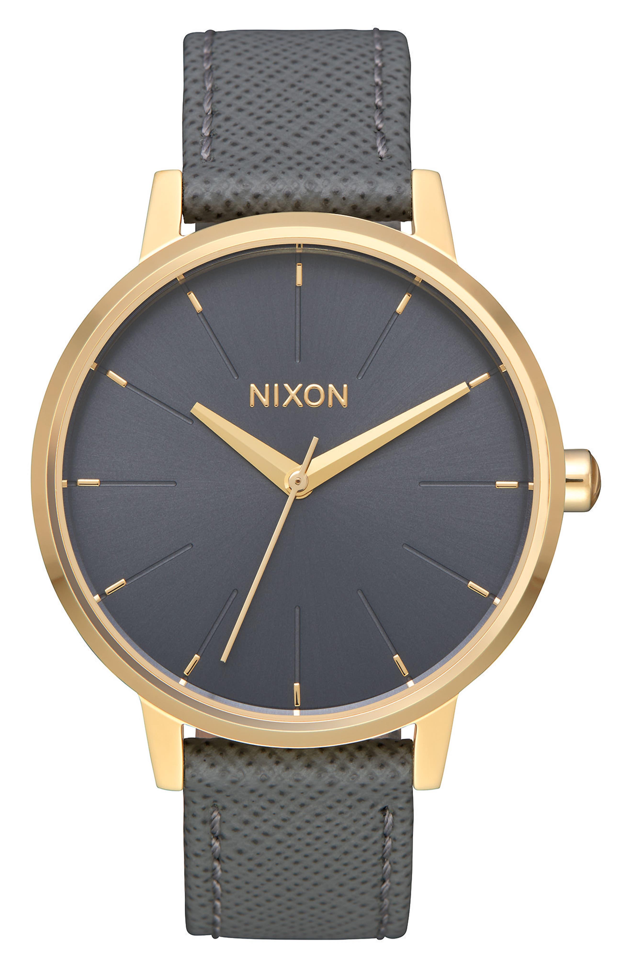 ,                             'The Kensington' Leather Strap Watch, 37mm,                             Main thumbnail 1, color,                             020
