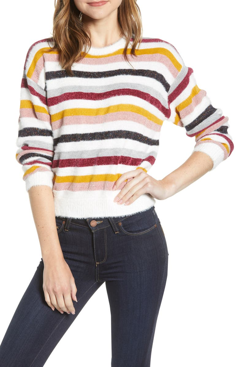 CUPCAKES AND CASHMERE Multistripe Crewneck Sweater, Main, color, IVORY