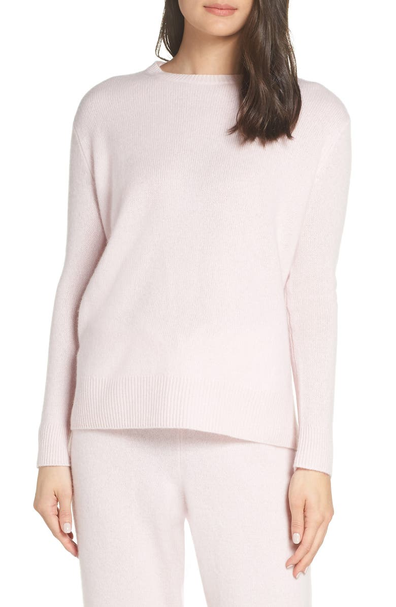 SOMETHING NAVY Cashmere & Silk Crewneck Pullover, Main, color, 650