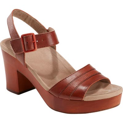 Earth Chestnut Platform Sandal- Brown