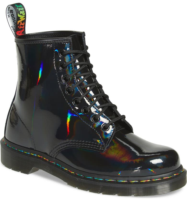 DR. MARTENS 1460 Rainbow Patent Boot, Main, color, BLACK/ CHROME RAINBOW
