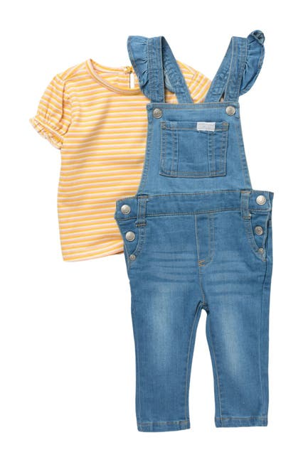Image of 7 For All Mankind Striped Tee & Overalls Set