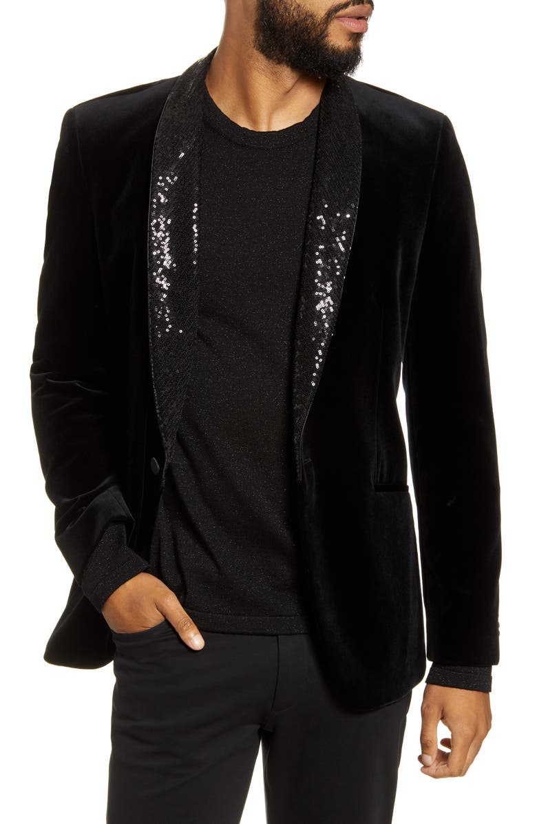 HUGO Arti Extra Slim Velveteen Sport Coat, Main, color, BLACK